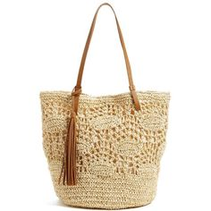 Women's Nordstrom Crochet Straw Tote (1.725 CZK) ❤ liked on Polyvore featuring bags, handbags, tote bags, handbags totes, straw handbags, straw tote handbags, crochet tote bag and summer handbags