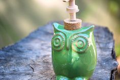 cute owl soap dispenser - I want to do an owl bathroom Owl Bathroom, Downstairs Bathroom, Bathroom Ideas, Owl Kitchen, Hgtv Star, Soap Pump, Cute Owl, Spring Green, Soap Dispenser