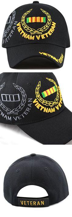 THE HAT DEPOT 1100 Official Licensed Vietnam Veteran 3D Baseball Cap (Black Vietnam)