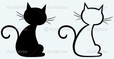 Черная кошка силуэт. Иллюстрация