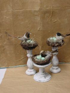 Bird displays using stuff from Dollar Tree.