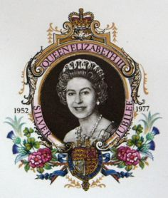 This is a British Royal memorabilia ceramic tile plaque made to commemorate the Silver Jubilee in 1977 of Queen Elizabeth II of England who was crowned in 1953. The tile is 4.5 inches square and is in