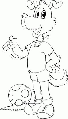 dog wanna play ball coloring page