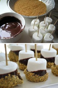 Awesome Smores on a Stick I love desserts that are simple and with only a few ingredients. Simple, but classy. That's my kind of dessert. Here we go, we need only three ingredients for this one: graham crackers, chocolate a… - Awesome Smores on a Stick Mini Desserts, Just Desserts, Delicious Desserts, Yummy Food, Tasty, Oreo Desserts, Bite Sized Desserts, Mini Dessert Cups, Cook Desserts
