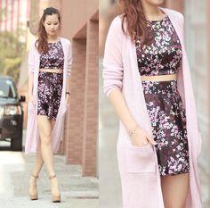 Choies Pink Cardi, Vanilla Mood Sakura Print Dress - Satin sakura - Mayo Wo
