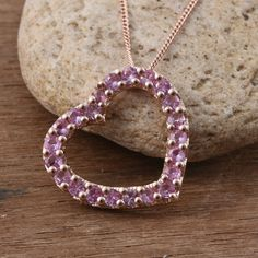Madagascar Pink Sapphire RG Over Sterling Silver Heart Pendant With Chain in) TGW cts. Sapphire Jewelry, Pink Sapphire, Madagascar, Rose Gold, Pendants, Sterling Silver, Chain, Diamond, Heart