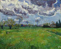 Van Gogh - Wiese mit Blumen unter Gewitterhimmel