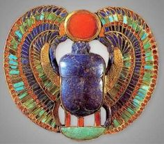 "Lapis Lazuli Scarab (Khephra) with ptera ""feathers"" or ""wings"" lifting the disk of the Sun Ra with its ""hands"""