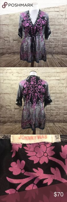 Johnny Was Silk Tunic XS Johnny Was Silk Tunic Size XS  SLEEVE: 16 in (from neck)  Length: 28 in  Arm pit to Arm pit: 23 in Johnny Was Tops Tunics