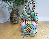 Handmade Wayuu Patterned Mochila Bag by EKIIOrigins on Etsy