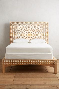 Handcarved Albaron Bed and more Anthropologie.This handcarved bedroom centerpiece features a two-toned motif - inspired by a dramatic Moroccan entryway Hanging Furniture, Rustic Furniture, Bedroom Furniture, Home Furniture, Business Furniture, Furniture Design, Dark Furniture, Furniture Movers, Furniture Removal