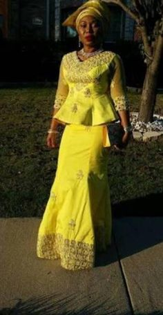 Yellow george skirt and blouse, African style, Nigerian fashion, Igbo woman, gele African Dresses For Women, African Print Dresses, African Fashion Dresses, African Attire, African Women, Nigerian Fashion, African Outfits, Fashion Skirts, Women's Fashion
