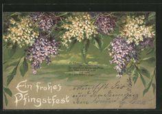 schöne Präge-AK Frohe Pfingsten, Schöner Flieder mit Sinnspruch 1905 | eBay