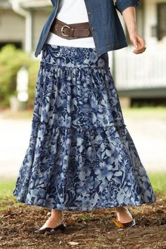 pair long flowy blue skirt with white tee or white button down shirt and belt