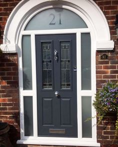 Arched anthracite grey installed in Arched Front Door, Front Door Porch, Grey Front Doors, Porch Doors, Arched Doors, House Front Door, Front Door Colors, Entrance Doors, Entrance Halls