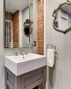 Love This Twist On Contemporary Bathroom With Our Traditional Artifacts  Faucet. Powder Room Design,
