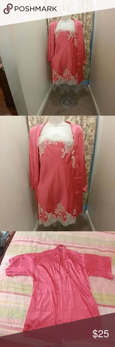 ❌HOLD❌Victoria's Secret hot pink set Victoria's Secret hot pink set, sexy nightie with eyelash lace trim and matching kimono robe with 2 hidden pockets.  Nightie size medium, robe s/m.  Great condition with no flaws other than the robe is missing its sash.    Price firm unless bundled.  Bundle for 20% off! Victoria's Secret Intimates & Sleepwear Robes