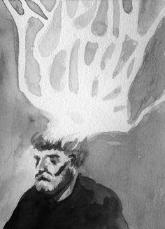Twitter : @RheaAnastasia  Rhea Anastasia  ink, handmade, black and white, man and tree head, sketch