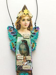 Mixed Media Art Paint Brush Doll Art Doll Assemblage Love Paint Brush Art, Paint Brushes, Altered Art, Altered Tins, Decorated Gift Bags, Cafe Art, Art Dolls, Paper Dolls, Junk Art