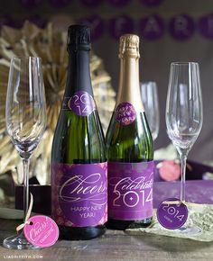 For this New Year's Eve party add these pretty labels to your champagne bottles. You can also print these personalized glass tags for all of your guests. Kids New Years Eve, New Years Eve Party, New Year's Eve Crafts, Nye Party, Xmas Party, Party Time, Champagne Label, New Year's Eve Celebrations, Hot Cocoa Bar