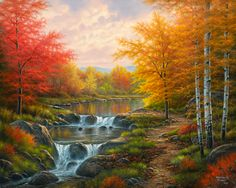 Diamond Embroidery Landscape Diy Diamond Painting Cross-Stitch Natural Beauty Scenery Embroidery Ribbons Pictures By Numbers Autumn Lake, Autumn Scenery, Autumn Nature, Art Nature, Bob Ross Paintings, Cross Paintings, Landscape Art, Landscape Paintings, Scenery Paintings