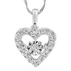 10KT White gold 0.29 ctw Dancing Diamond pendant, chain included. PEN-DIA-2687