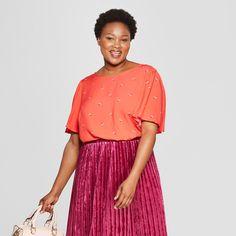 a864a5bcef Women s Plus Size Floral Print Short Flutter Sleeve Top - Ava   Viv™ Red