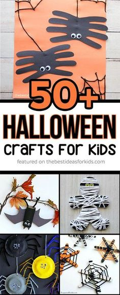 Over 50 of the best Halloween Crafts for Kids! So many fun ideas including pumpkin crafts, spider crafts, bat crafts, mummy crafts, ghost crafts, black cat crafts, witch crafts, zombie crafts and more! via @bestideaskids