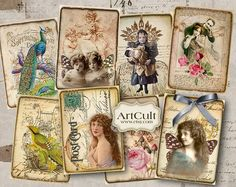 VINTAGE NOSTALGIA - Digital Collage Sheet - Printable Gift tags - Scrapping - Downloadable ACEO images