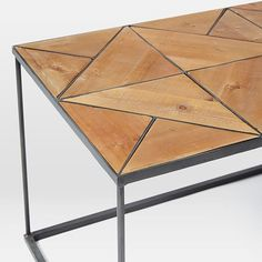 Faceted Wood Rectangle Coffee Table