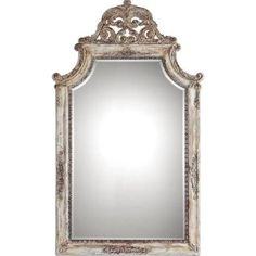 Uttermost 09516 Portici Antiqued Ivory Finish Framed Bevel Wall Mirror