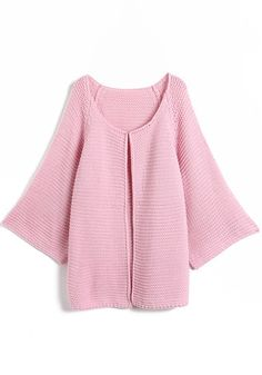 Oversize Open Front Cardigan - Pink