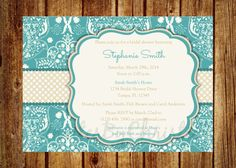 Damask Blue and Tan Bridal or Baby Shower by InvitesByChristie, $12.00