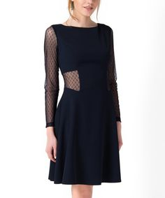 Look at this #zulilyfind! Navy Lace-Sleeve Fit & Flare Dress by Epic #zulilyfinds