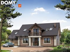 Dudek 4 dom parterowy jednorodzinny z poddaszem i garażem - Jesteśmy AUTOREM - DOMY w Stylu Country Style House Plans, Style At Home, Small Cottage Homes, House Outside Design, Bungalow Homes, Contemporary Style Homes, Exterior House Colors, Facade House, Pool Houses