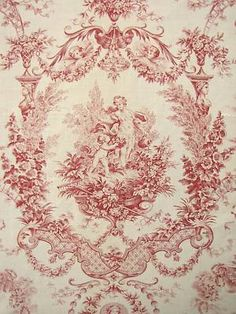 Antique French fabric Red romantic toile red c1910 ~*~