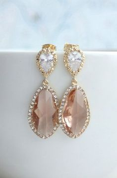 Wedding Inspiration from Emmahuntlondon X LUX Gold Plated Cubic Zirconia Peach Champagne, Blush Peach Teardrop Earrings
