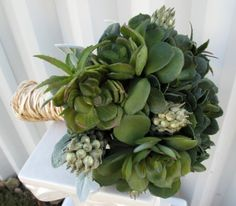 Succulent Bouquet     For your outdoor event, choose a lively green succulent bouquet for a fresh accent to your gown.    Photo courtesy of  Bride in Bloom Weddings .