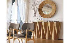 Una entrada única, decorar el salón con un estilo industrial o rústico contemporáneo. Muebles únicos de madera. Live In Style, Entryway, Curtains, Mirror, Colonial, Furniture, Home Decor, Unique Furniture, House Decorations