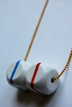 Wood nautical cubes  hand painted necklace by LindoRon on Etsy, $18.00