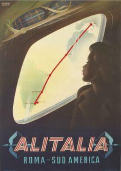 Alitalia vintage travel poster, Rome to South America.
