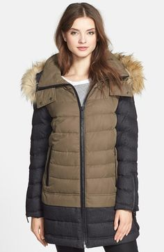 aB+Faux+Fur+Trim+Two-Tone+Quilted+Parka+available+at+#Nordstrom