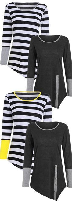 Long Sleeves Buttons Panel T-shirt