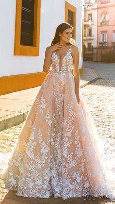 Crystal Design 2017 bridal sleeveless strap deep plunging sweetheart neckline full embellishment blush color romantic a  line wedding dress  sheer back royal train (lizel) mv #wedding #bridal