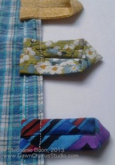 Making rouleau loops/button tabs for cushion closures. © Stephanie Boon, Dawn Chorus Studio, 2013