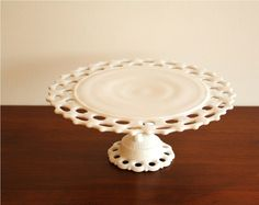 Westmoreland milk glass lattice cake plate pedestal. $68.00, via Etsy.