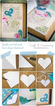 You could take literally anything, any cool design you can think of (photocopied comic book pages?) and make cute bookmarks :D Heart Bookmark, Bookmark Craft, Cute Bookmarks, Corner Bookmarks, Handmade Bookmarks, Cute Crafts, Diy And Crafts, Crafts For Kids, Diy Paper