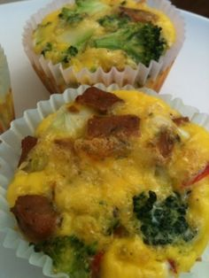 Paleo Diet Breakfast: Egg Muffins with Sausage and Broccoli. I made mine with baby kale and bacon.
