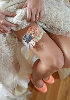 Peach and gray garter. By Paige Williams Photography.