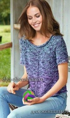 Пуловер реглан связанный спицами